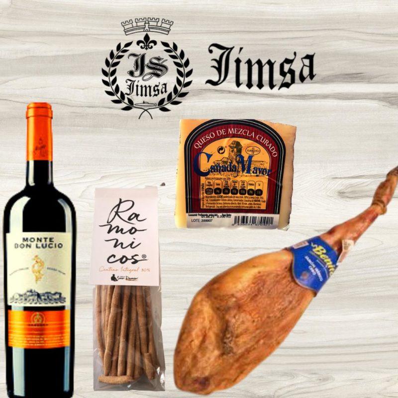 Lote Jimsa vino,queso, picos y jamón de cebo